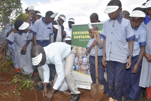 A tree planting exercise organized by Theta Tea Factory in conjunction with KTDA Foundation